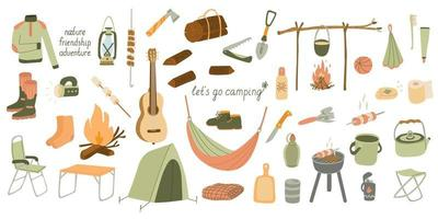 Big set of vector illustrations of tourism and camping equipment