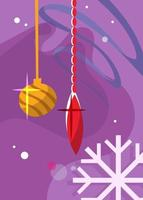 Poster with christmas tree toys. Holiday postcard design. vector