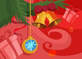 Banner with christmas tree ball and bells. Holiday placard design. vector