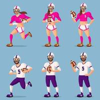 American football players in different poses. Male and female persons. vector