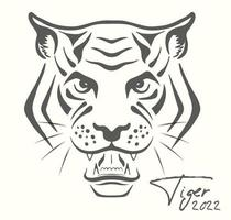 Tiger sketch  2022 Chinese calendar Banner for Christmas and New Year vector