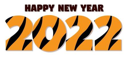 Figures 2022 in orange and black stripes  tiger Chinese New Year vector