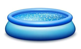 Rubber portable pool. Filled with azure clear water. vector
