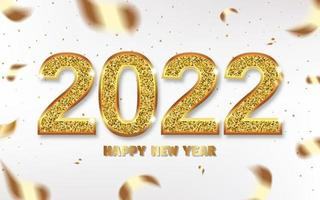 Christmas 2022 numbers sparkle with gold, ribbons and confetti vector