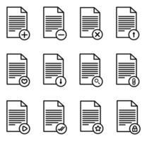 Document icon set - vector illustration .