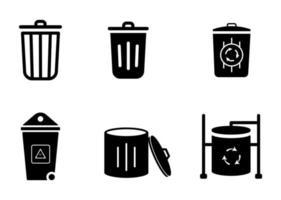 Trash garbage icon set - vector illustration .