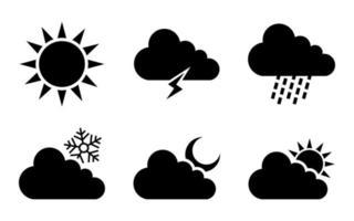 weather icon set - vector illustration .