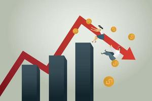 Bankruptcy businessman falling off the graph vector