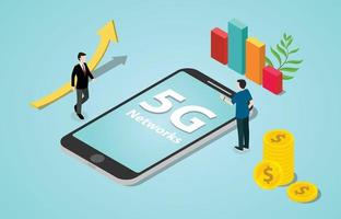 isometric 5g new internet speed revolution networks with smartphone vector