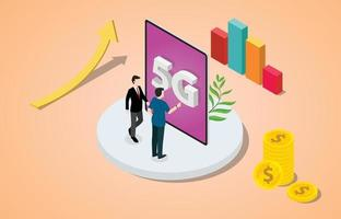 isometric 5g networks concept with team people business vector