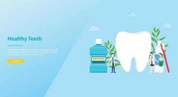 teeth or tooth care healthy with team doctor and big teeth vector