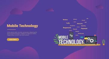 mobile technology concept with smartphone and laptop with team people vector