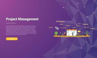 project management concept for website template vector