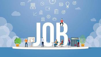job career with big word style and team people office around vector