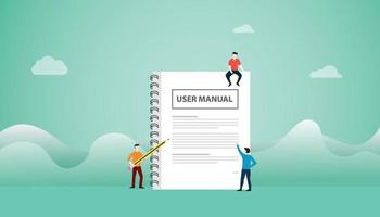 user manual concept with book manuals with team people read vector