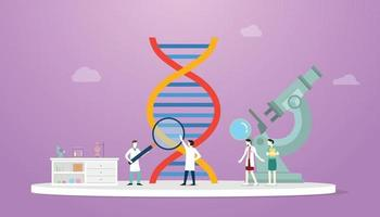 dna science analysis concept with team doctor scientist and big dna vector