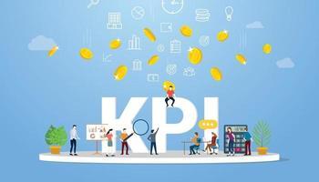 kpi indicador clave de rendimiento concepto de negocio con personas del equipo vector