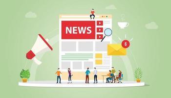 concepto de actualización de noticias con personas del equipo y diseño de página web vector