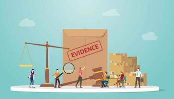 evidence concept with document paper and scale and gavel vector