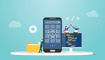 react native mobile apps development concept vector