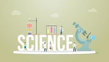 science words concept with team people doctor laboratory tools vector