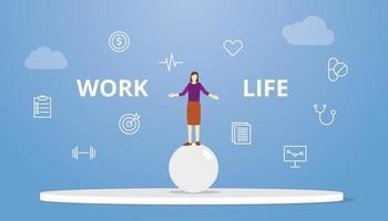 Concepto de equilibrio de vida laboral mujer circo en la parte superior de bolas de esfera vector