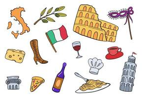 italy doodle hand drawn set collections vector