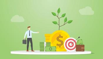 investment advisor concept with money and financial invest advice vector