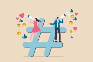 Social media marketing, online digital advertising campaign, hashtag vector