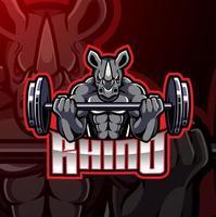 diseño de logotipo de juego de mascota de rinoceronte vector