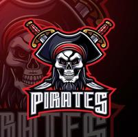 Pirates mascot gaming logo design vector