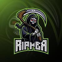 Skull reaper logo mascot design vector