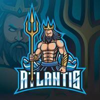 diseño de logotipo de la mascota de Poseidón con arma tridente vector