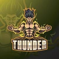 Thunder esport mascot logo design vector