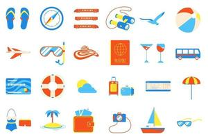 Holiday vacation beach elements flat style design set. vector