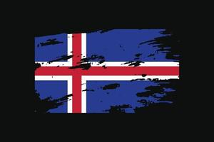 Grunge Style Flag of the Iceland. Vector illustration.