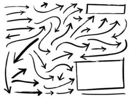 Hand-drawn arrows doodle writing set vector