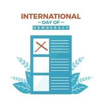 International democracy day and voting paper vector