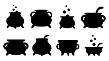 Set of black silhouettes of witch cauldrons with handles magic potion vector