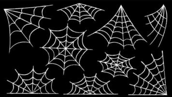 Spider web set. Halloween decoration with spiders. A creepy spider web vector