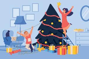Decorating Christmas Tree Composition vector