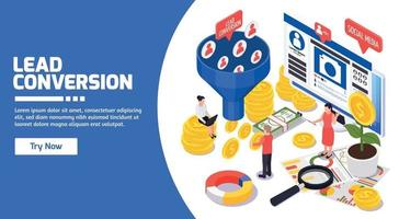 SMM Promotion Isometric Banner vector