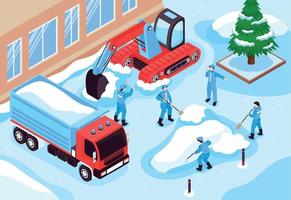 Snow Cleaning Isometric Composition vector