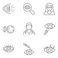 Ophthalmology Thin Line icons vector