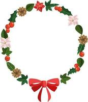 Christmas floral round frame from holly, poinsettia, ivy, pine, bow vector