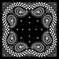 Bandanna Paisley pattern Ornament Design with Race Flag vector
