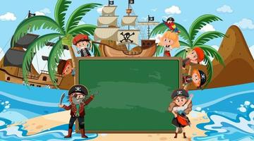 Empty blackboard with many pirate kids cartoon character at the beach vector