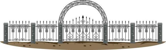 Puerta de metal gótica sobre fondo blanco. vector
