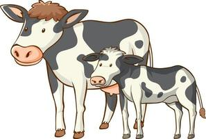 Mother and baby cow animal cartoon on white background vector