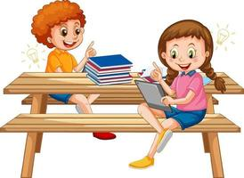 Kids online leaning from tablet isolated vector